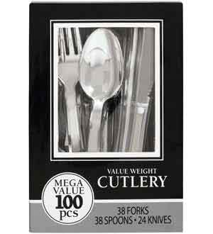 Silver Box Assrtd Cutlery 100ct